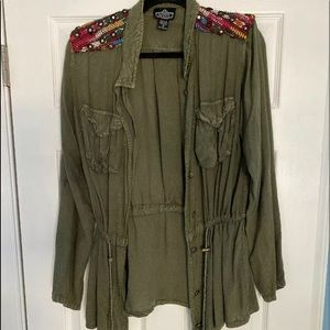 Angie Army Green Boho Festival Cargo Jacket Medium